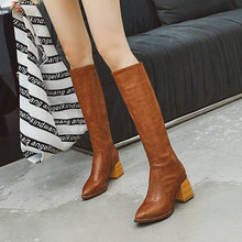 Fashion Women Knee High Boots Square Heel Pointed Toe Women Boots Zipper  Boots Snake Print Women Shoes Black Brown msstor pointed toe high heel boots shoes woman casual fashion zipper knee high boots women shoes elegant thin heel women boots