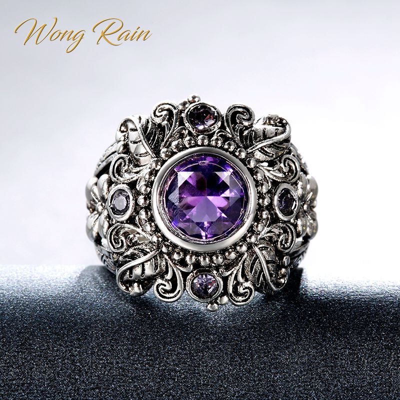 Wong Rain Vintage 100% 925 Sterling Silver Amethyst Gemstone Birthstone Wedding Engagement Plants Ring Fine Jewelry Wholesale