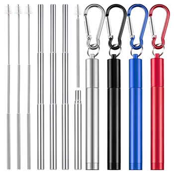 4 Pieces Portable Collapsible Reusable Straws Telescopic Metal Straws Folding Drinking Straws Keychain Set with Stainless Steel
