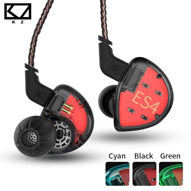 KZ ES4 בצגי אוזן אבזור ודינמי היברידי אוזניות אוזן אוזניות אוזניות HiFi בס רעש ביטול אוזן ווי אוזניות