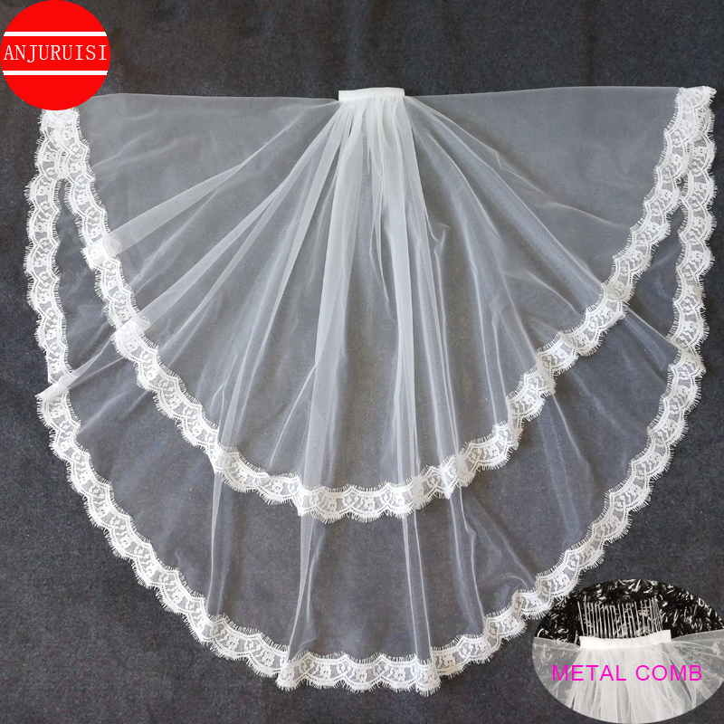 Two Layer <font><b>Short</b></font> Bridal Veil Lace Edge Cheap White Ivory Tulle Wedding <font><b>Velo</b></font> With Metal Comb Wedding Accessories Simple Welon 2020 image