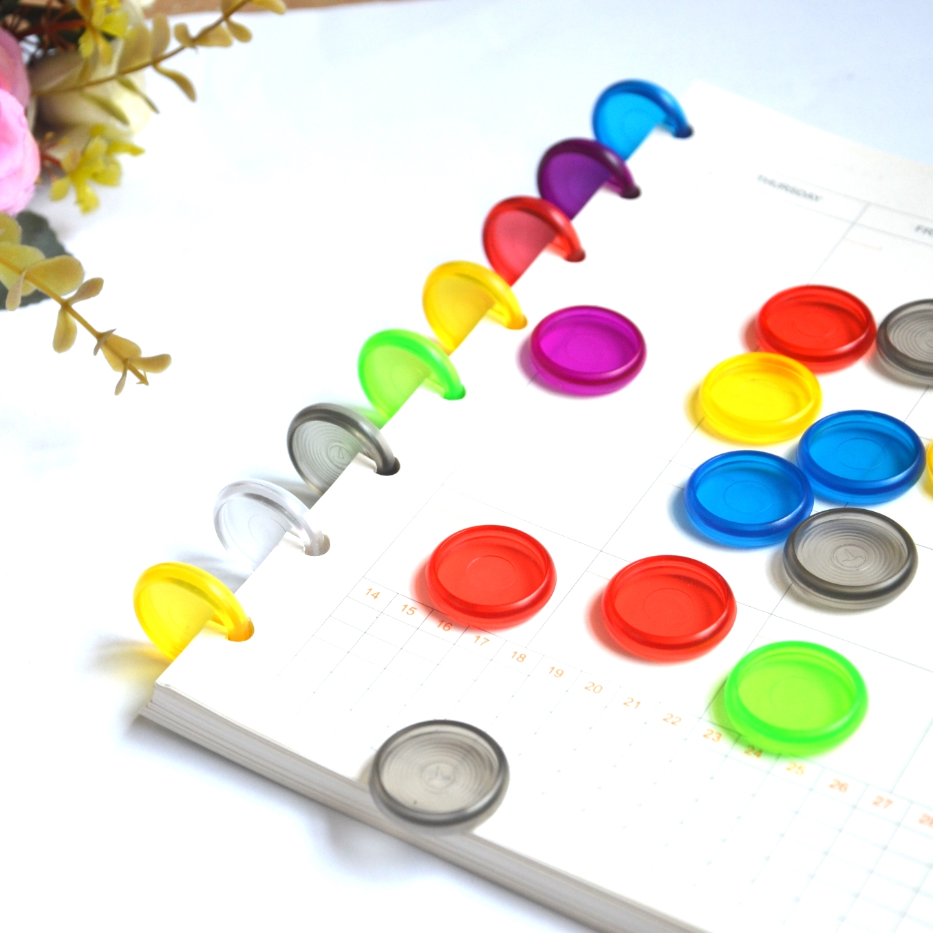 12pcs 24mm Binding Disc Plastic Round Binding Ring Buckle Color Binder Accessories Mushroom Hole Books Discs Binding