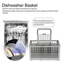 Uniwersalny kosz na zmywarkę część sztućce wymienny kosz do przechowywania akcesoriów tanie tanio HAIMAITONG CN (pochodzenie) Zmywarka części Dishwasher Basket Silver Storage Baskets Organiser Approx 240 * 135 * 123mm