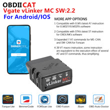 Nowy!! Vgate vLinker MC + ELM 327 V2.2 BT 4.0 ELM327 OBD 2 OBD2 dla androida/IOS skaner WIFI diagnostyka samochodu Auto narzędzie