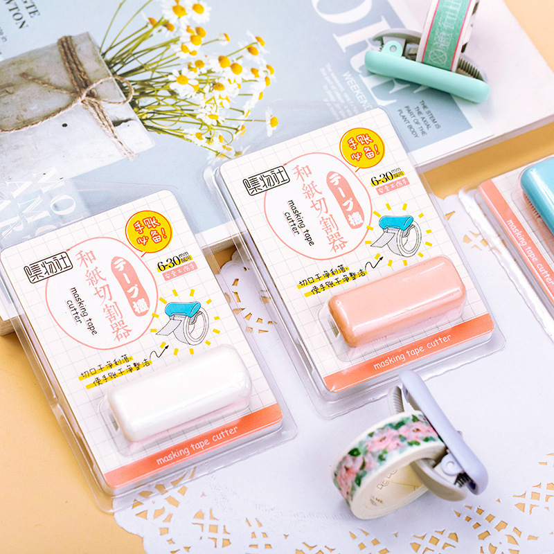 1PCS Cute Japanese Stationery Mini Washi Tape Dispenser Kawaii Portable Plastic Office Scotch Tape Cutter School Supplies