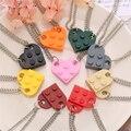 Ожерелье 17KM в стиле панк, 2 шт., сердце, кирпич, пары, любовь, ожерелье для влюбленных женщин и мужчин, элементы Lego, ожерелья дружбы, подарки на ...
