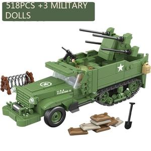 Image 1 - 518個啓発ミリタリー米国M16 mgmc WW2タンク車両モデル兵士ミニフィギュアビルディングブロックレンガのおもちゃ子供のギフト