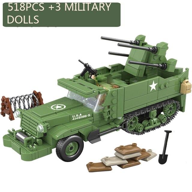 518個啓発ミリタリー米国M16 mgmc WW2タンク車両モデル兵士ミニフィギュアビルディングブロックレンガのおもちゃ子供のギフト