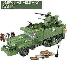 518PCS Chiarisca Militare USA M16 MGMC WW2 SERBATOIO Modello di Veicolo Soldati Minifigure Building Blocks Giocattoli Dei Mattoni per I Regali Dei Bambini