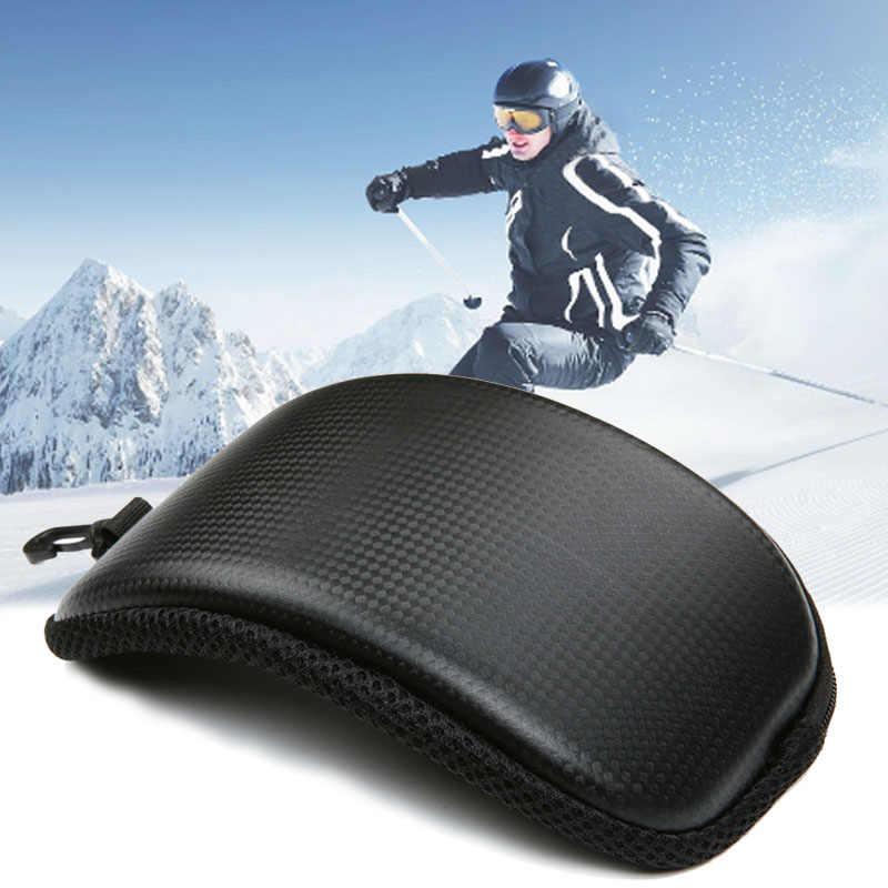 Жесткий чехол на молнии для очков для катания на лыжах и сноуборде, портативный защитный чехол для лыжных очков (без очков)