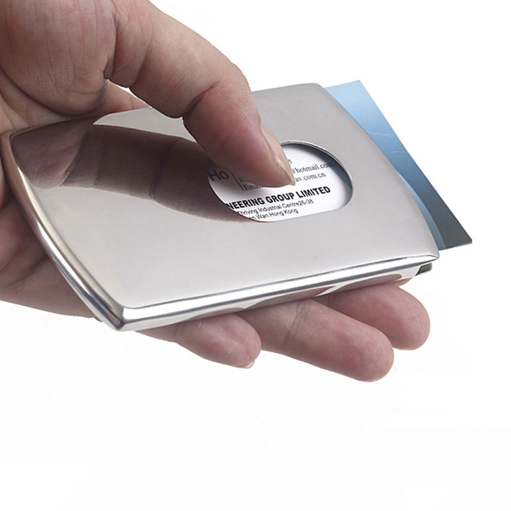 1PC New Sliding Stainless Steel ID Card Holders Men Business Card Cases Women Elegant Metal Hand-push Credit Bank Card Box