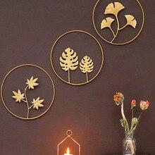 Листья в скандинавском стиле, подвесные настенные креативные Железные украшения в виде листьев гинкго, фоновые украшения для гостиной, див...