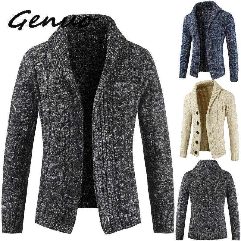 Men Cardigan Sweater 2019 Autumn And Winter New Men's Long-sleeved Sweater Lapel Cardigan Button Knit Sweater Coat Tide Warm