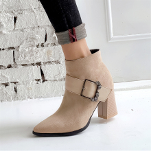 цена на Plus Size 34-48 Fashion Buckle Bare Boots Thick Heel Pumps England Martin Boots Pointed Toe Ankle Boots Women's Shoes Lgck Sexy