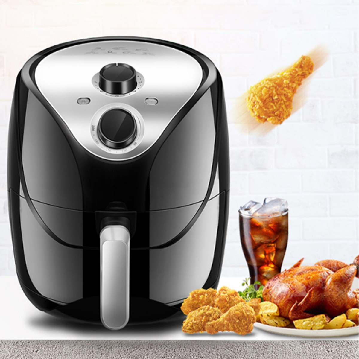 5.5L Multi-function Air Fryer 1500W Electric Deep Fryer High-speed Hot Air Circulation Cooker Oven Low Fat Health Pan AU Plug