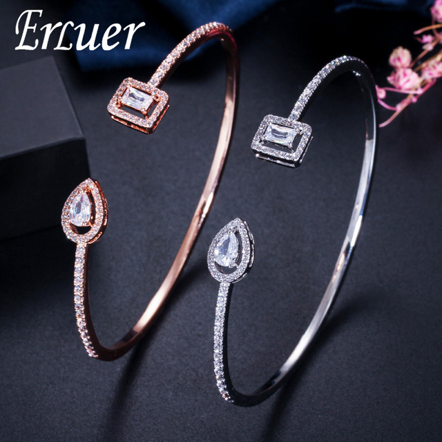 ERLUER Cuff adjustable bracelets for women jewelry wholesale fashion Zircon charm Crystal Ladies Hand Bracelet Gift lover girl