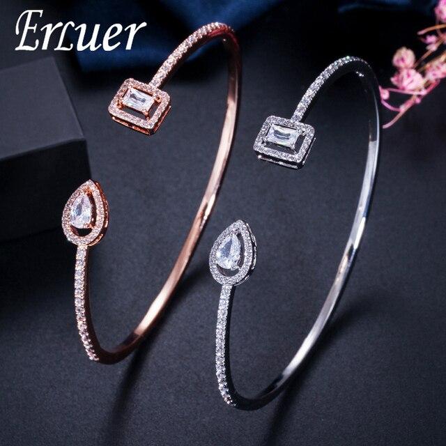 Erluer manguito pulseiras ajustáveis para mulheres jóias por atacado moda zircão charme cristal senhoras mão pulseira presente amante menina