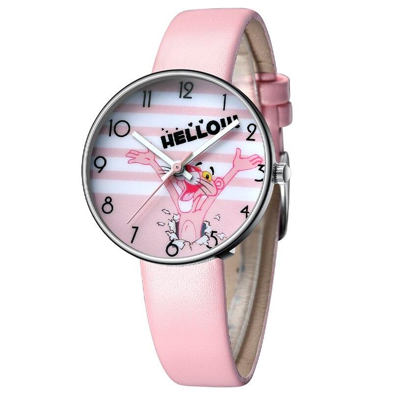 KDM Cartoon Watch Girl Pink Leopard Students Watch Leather Strap Quartz Watch Kids Birthday Gift 2019 Fashion Children Watches