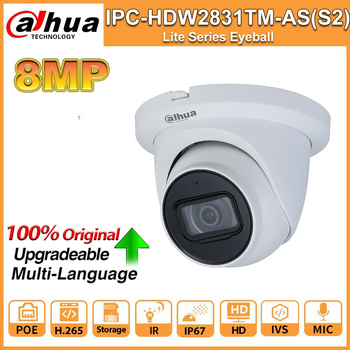 Dahua IPC-HDW2831TM-AS-S2 8MP 4K HD IP Camera IPC PoE IR 30m WDR IP67 H.265 MIC IVS Camera CCTV Security Camara Web camera ahua ipc eb5531 5mp wdr panorama 180 degree built in mic with sd card slot poe network fisheye ip camera replace ipc eb5500
