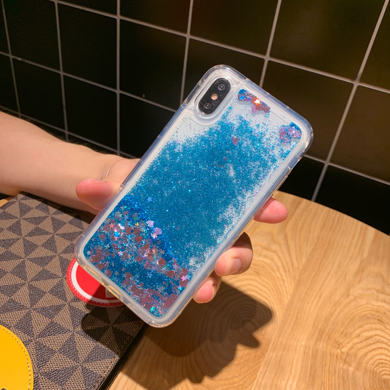 Glitter Love Heart Stars Transparent Soft TPU Cover For iPhone 5 5s SE 6 6s 7 8 Plus 10 X XS XR 11 Pro Max Liquid Quicksand Case