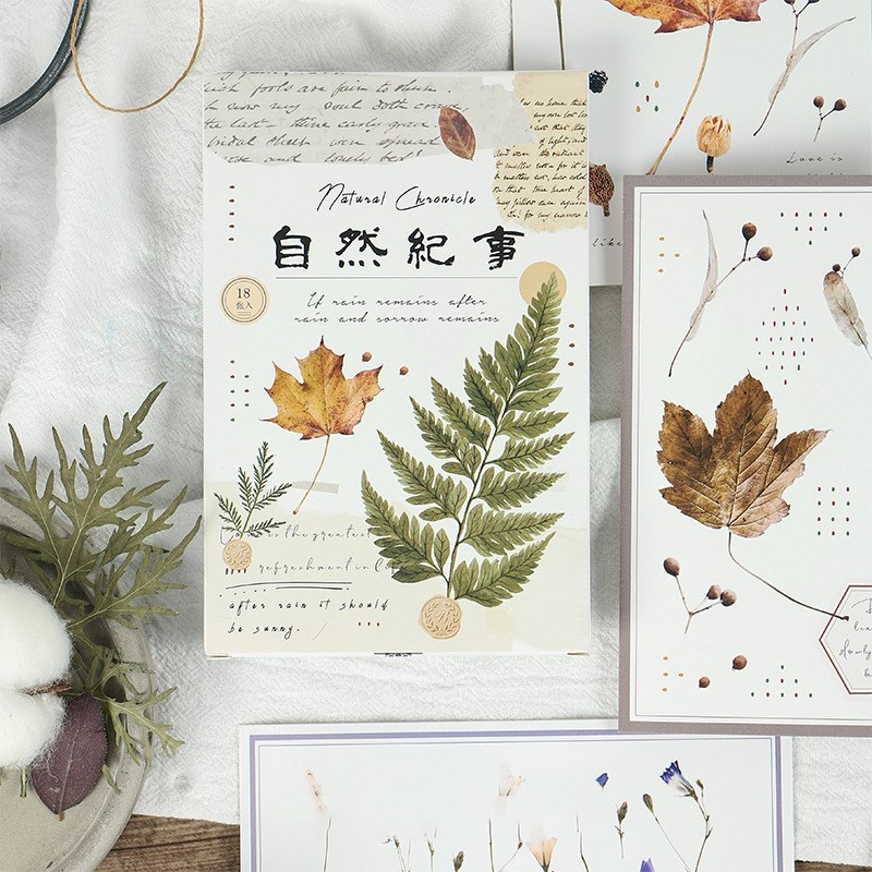 18 Sheets/set Natural Plants Paper Postcard Creative Greeting Card Message Card Letter Paper Card Stationery Gift