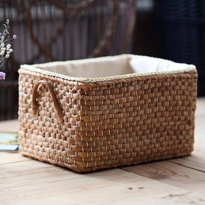 קופסאת אחסון עשויה קש יפני עם בד בפנים 1