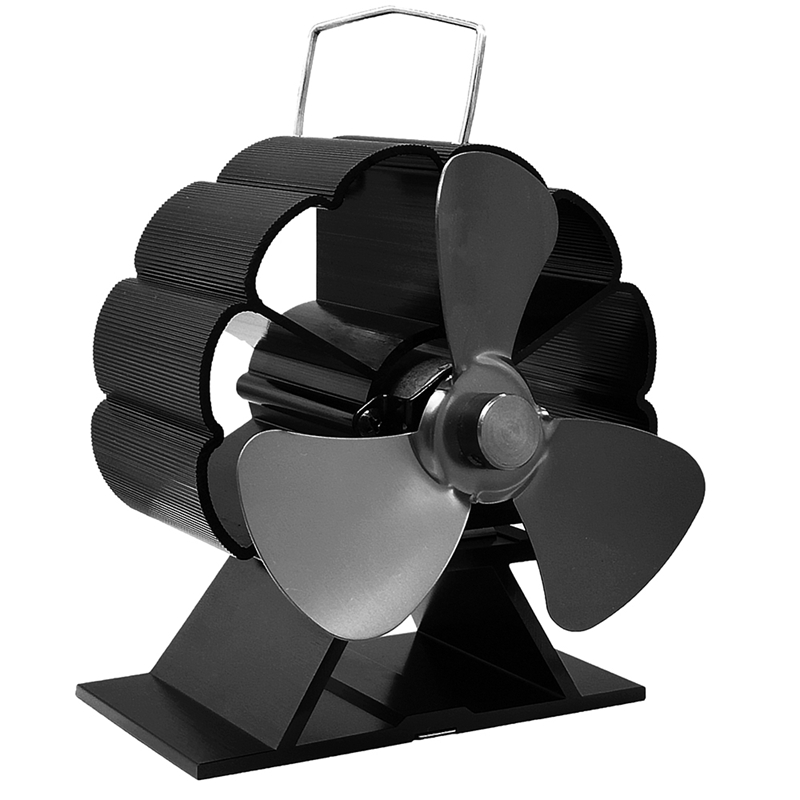 Black Fireplace 3 Blade Heat Powered Stove Fan Komin Log Wood Burner Eco Friendly Quiet Fan Home Efficient Heat Distribution