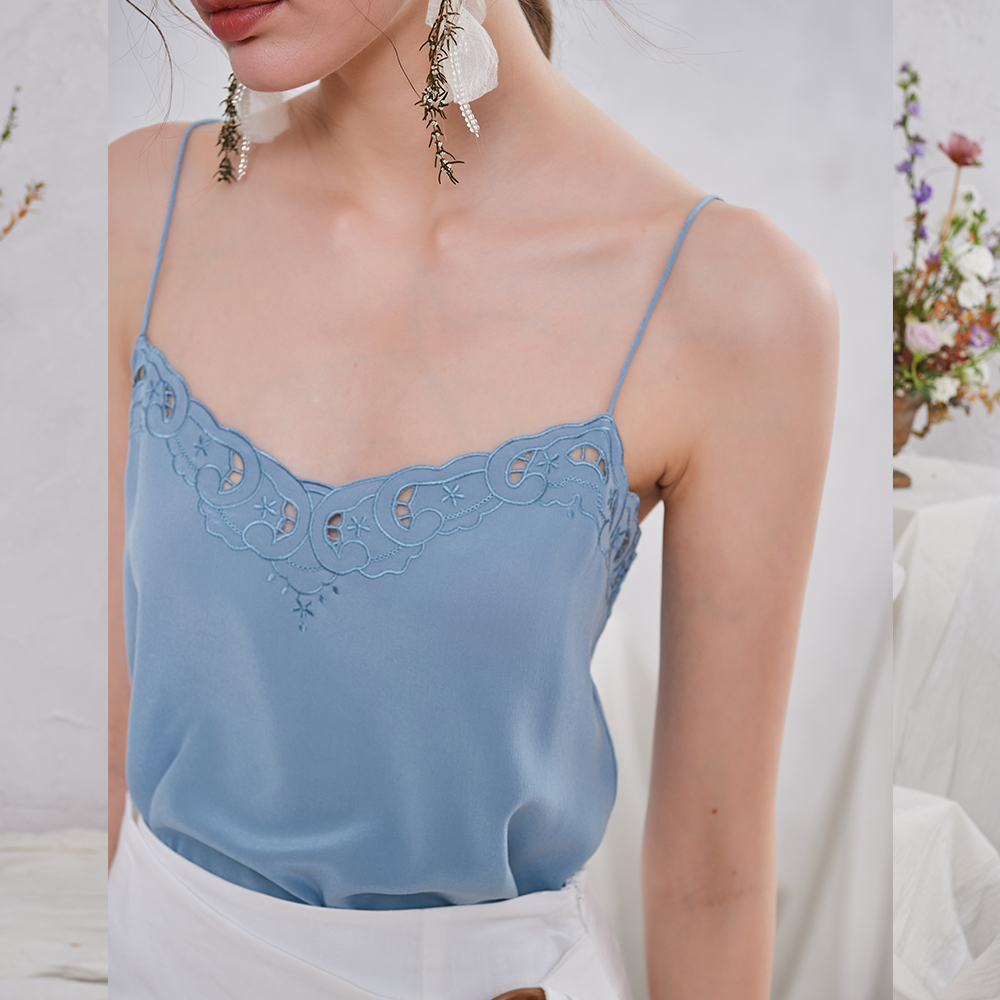 100% Silk Embroidery Camis Women Spring Summer New Camisole Sexy Sleeveless Sweet Lady Vest Top