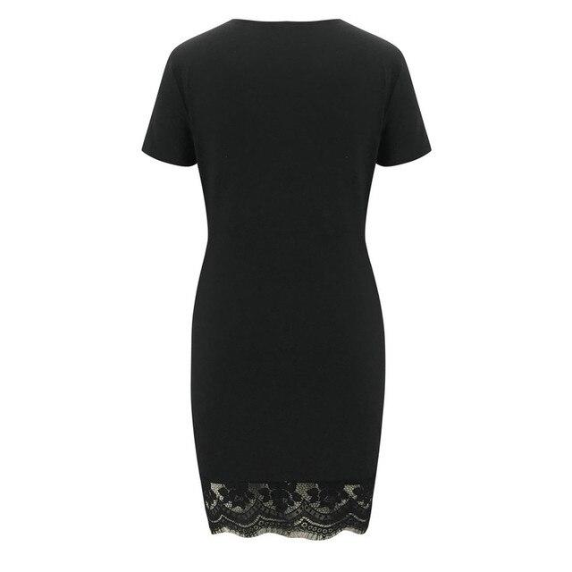 2021 New Women Casual Black V-Neck Lace Splicing Short Sleeve Dresses Summer Sexy Solid Slim Mini Dress Daily Vestido De Mujer 6