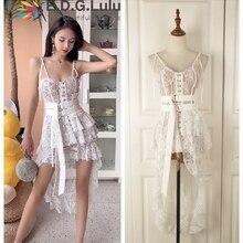 EDGLulu платье с оборками летнее платье модное подиумное платье на подтяжках Необычные вечерние сексуальные кружевные платья