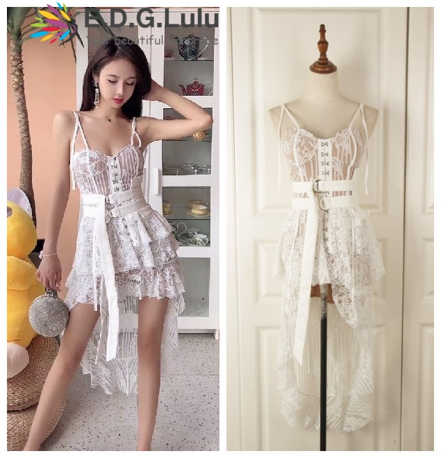 EDGLulu robe à volants robe d'été 2019 mode piste jarretelle irrégulière fête sexy dentelle robe