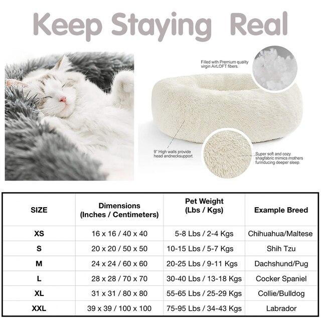 Long Plush Super Soft Dog Bed Pet Kennel Round Sleeping Bag Lounger Cat House Winter Warm Sofa Basket for Small Medium Large Dog 6