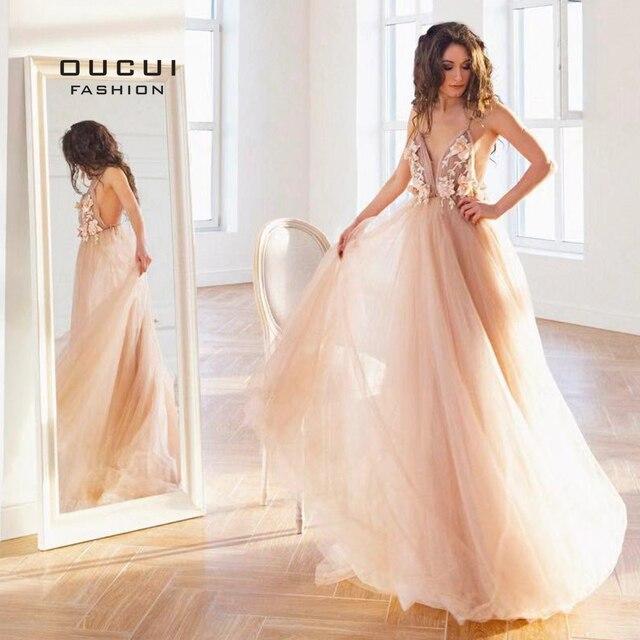 Oucui uzun gece elbisesi tül seksi Robe De Soiree balo kıyafetleri düğün parti İlkbahar yaz resmi Vestidos balo OL103253