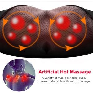 Image 5 - U צורת חשמלי צוואר רולר לעיסוי לגב צוואר כתף גוף הרפיה בריאות אינפרא אדום מחומם לישה עיסוי כרית