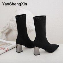 YANSHENGXIN Shoes Woman Boots Stretch Socks Mid-Calf Fashion Pointed Toe Women Autumn Winter Ladies Booties