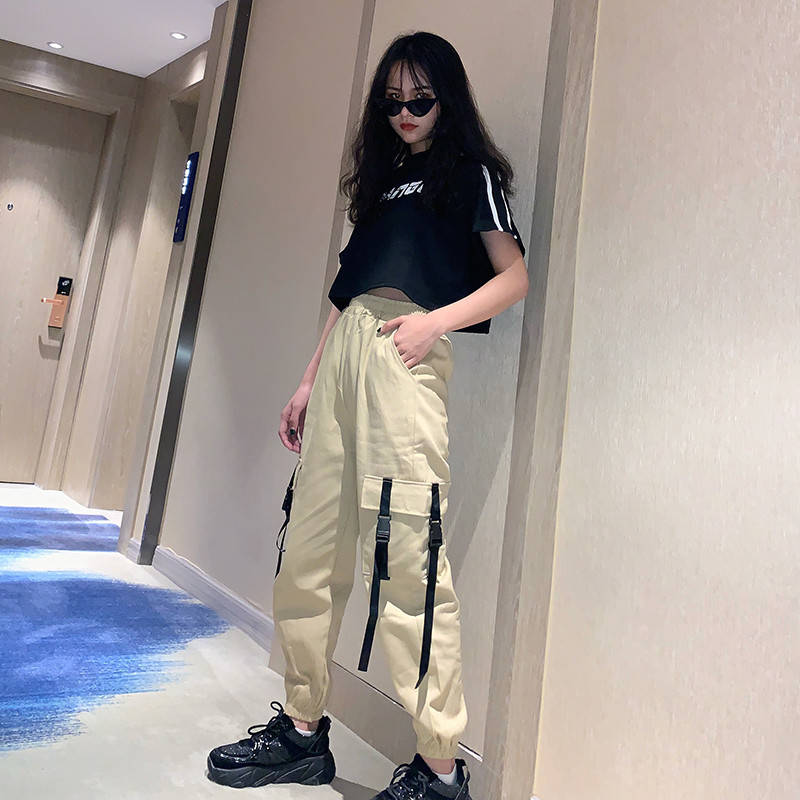 Streetwear Cargo   Pants   Women Casual Joggers Black High Waist Loose Female Trousers Funny Korean Ladies   Pants     Capri   Autumn   Pants