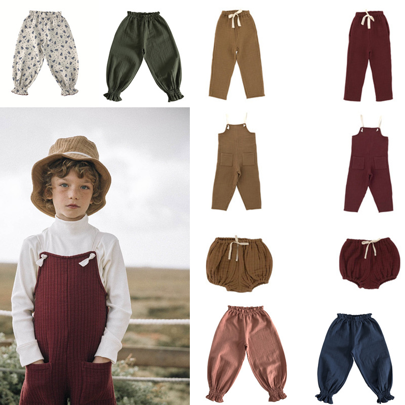 Liilu Brand Kids Pants 2020 Autumn Boys Pants Clothes Baby Girls Overall Home Mosquito Bloomers Ruffle Infant Children Fashion 1