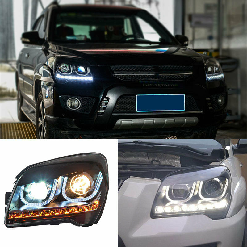Set Xenon Front Headlight Assembly WITH Double U Style LED DRL Light For Kia Sportage 2007 2008 2009 2010 2011 2012 2013