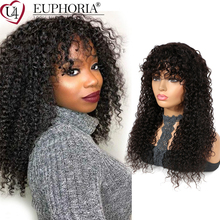 Natural Black Kinky Curly Hair Wigs Brazilian Remy 100% Human Hair Full Machine Made Cheap Wigs With Bangs 8-24Inch Euphoria