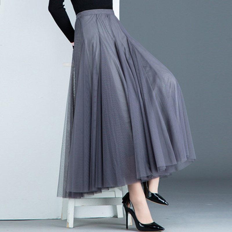 2020 Spring And Summer Women Pleated Skirt Elastic High Waist Mid-length Casual Mesh A-line Tutu Skirt Elegant Jupe Femme F2804