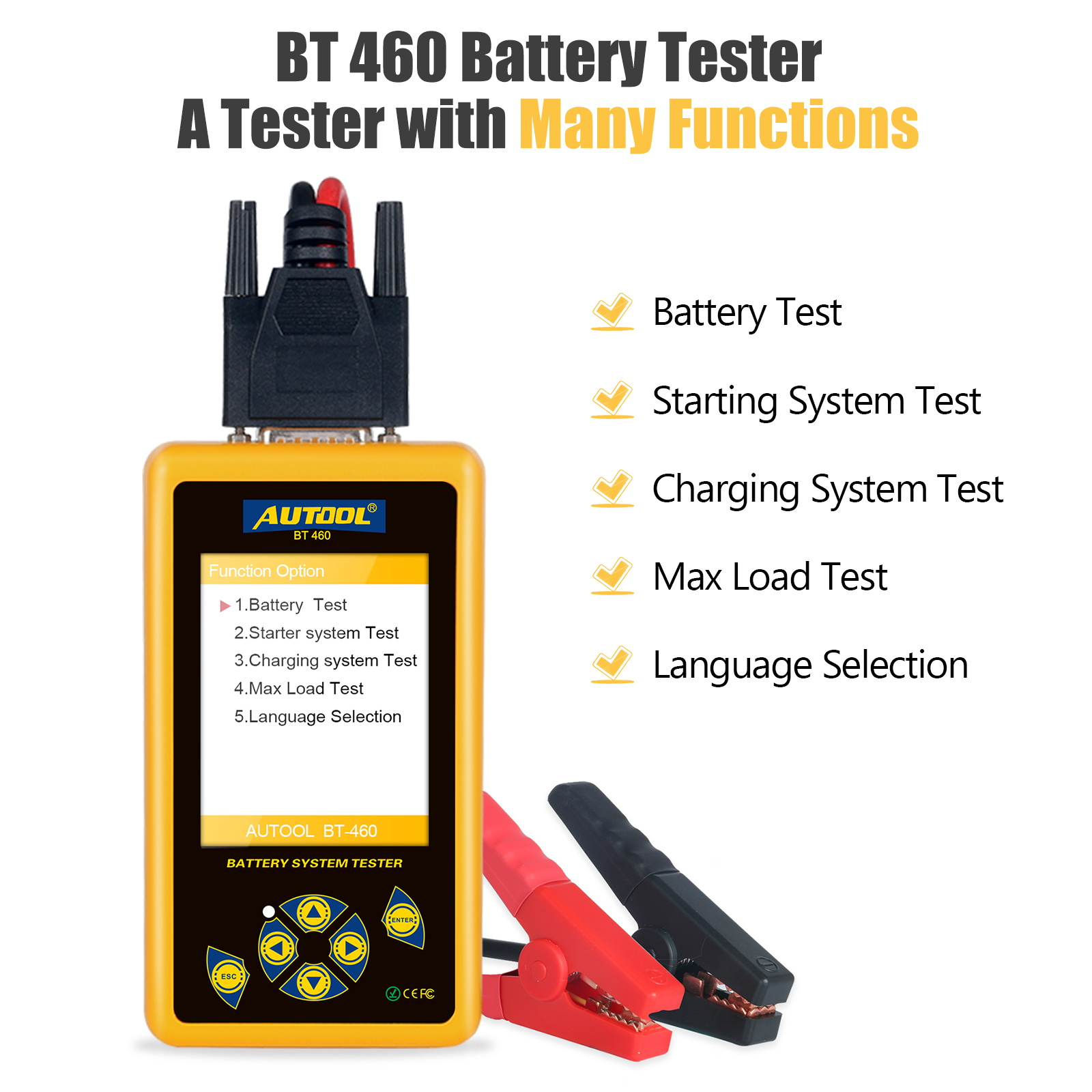 AUTOOL BT460 TFT 4inch Colorful Display Car Battery Tester Analyzer For 12V Car 24V Heavy Trucks Multifunction Battery Tester