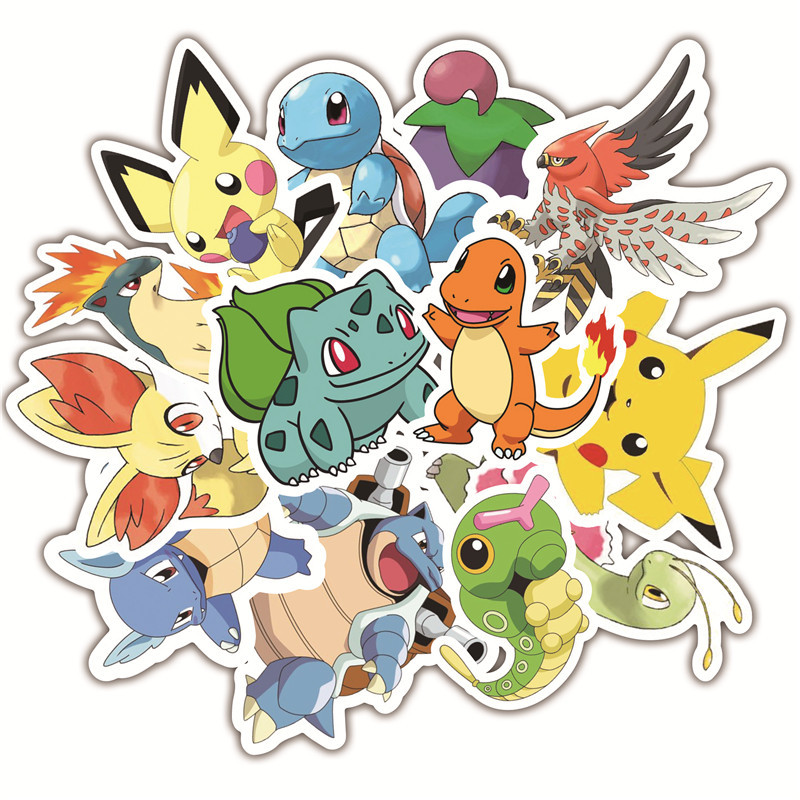 36PCS Pikachu Anime Game Stickers Animal Stickers For Luggage Skateboard Bicycle Fridge Laptop Cute Cartoon Sticker Set