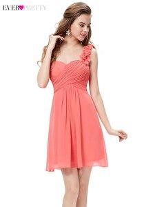 Image 3 - Élégant court robes de demoiselle dhonneur jamais jolie a ligne chérie une épaule Simple en mousseline de soie robes dinvité de mariage Sukienki 2020