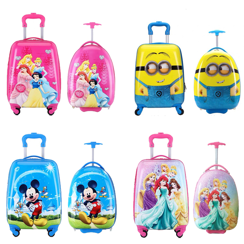 16/18 inch Kids Cartoon rolling luggage children travel suitcase on wheel trolley luggage carry-ons hardside bag for kid gift(China)