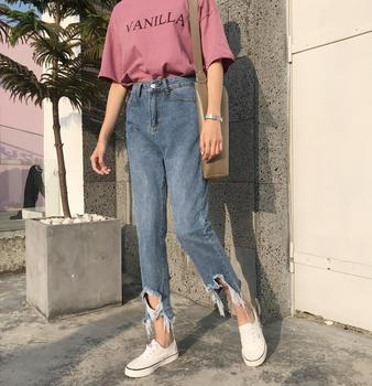 Jeans Women Holes Hip Hop Leisure Pockets Trousers Womens Straight Loose Trendy Retro Students Korean Daily High Quality Chic цена 2017