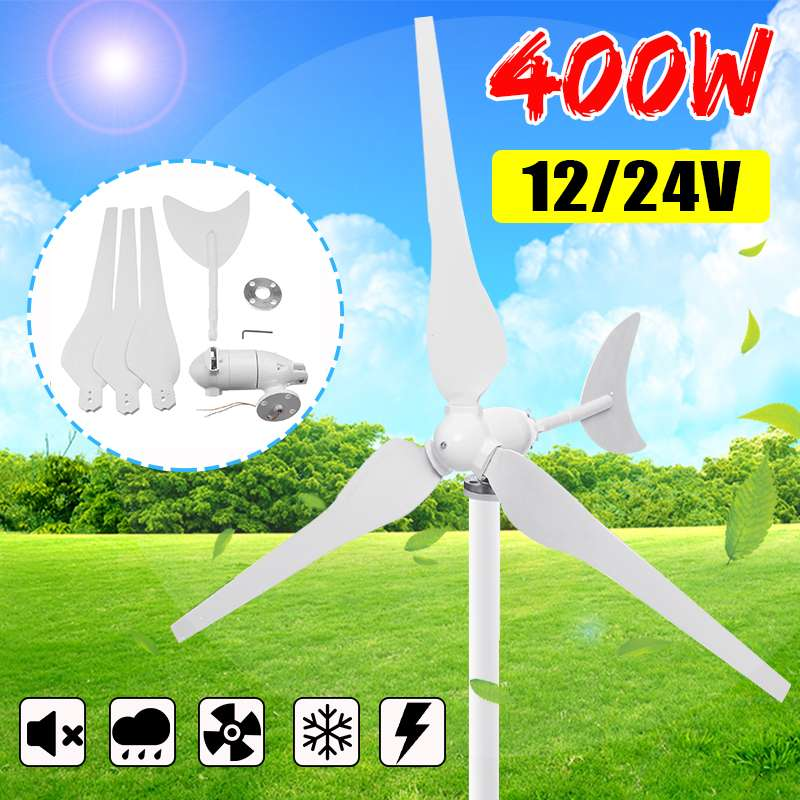 Générateur d'éoliennes 400W 12 V/24 V 3 pales générateur de vent Horizontal avec contrôleur