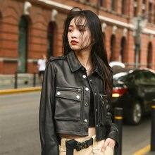 Женская короткая мотоциклетная куртка gours черная из натуральной
