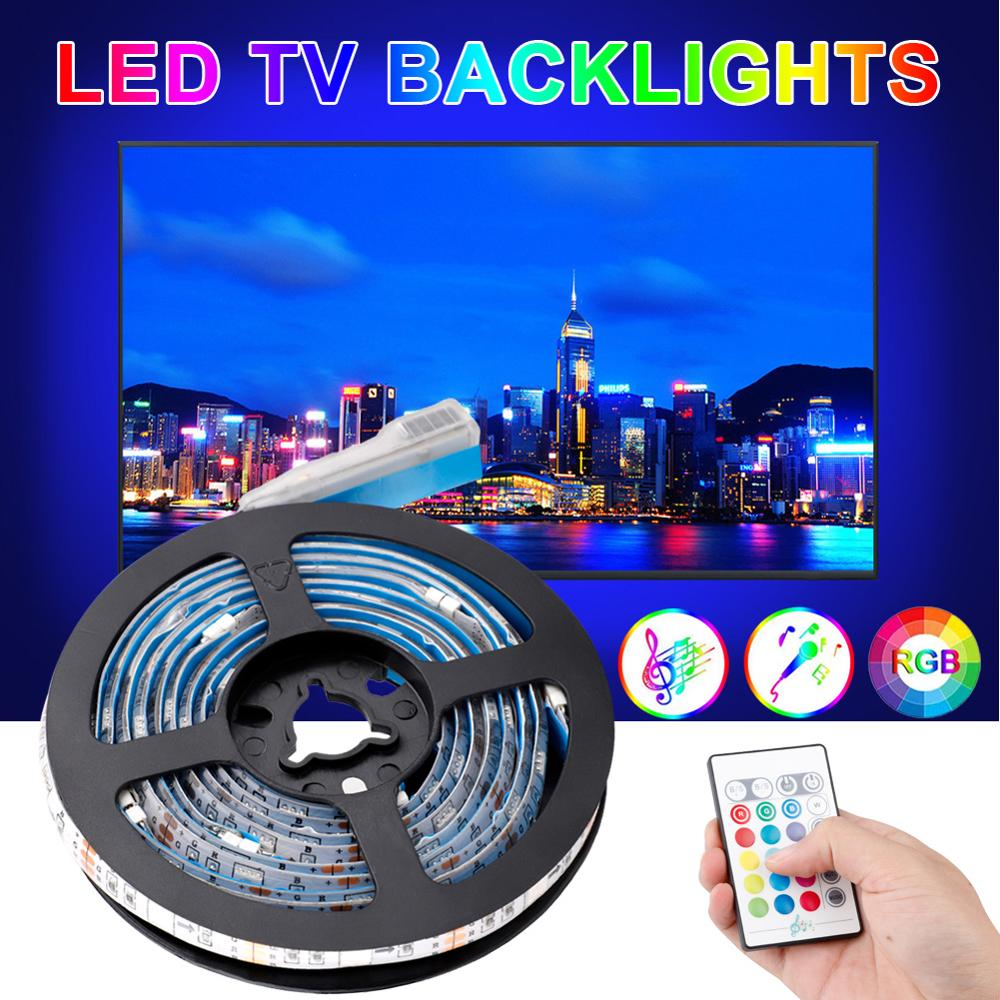 Original 5V USB LED Strip Light Lamp Adjustable Lighting With Remote Control Music Change Color Festival Lighting Decoration