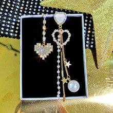 Korean Girl Heart-shaped Asymmetric Earrings Simple Wild Rhinestone Pearl Chain Earrings Jewelry Oorbellen Long Earrings Brincos rhinestone long chain earrings