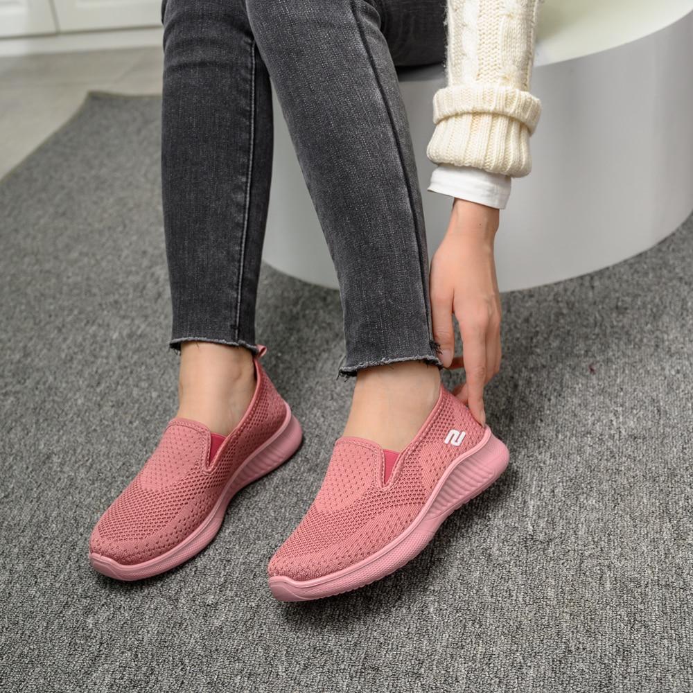 2020 summer women's sneakers slip on soft women's shoes flat casual sock shoes Ladies  Mesh lofaers fashion Vulcanize Shoes 2